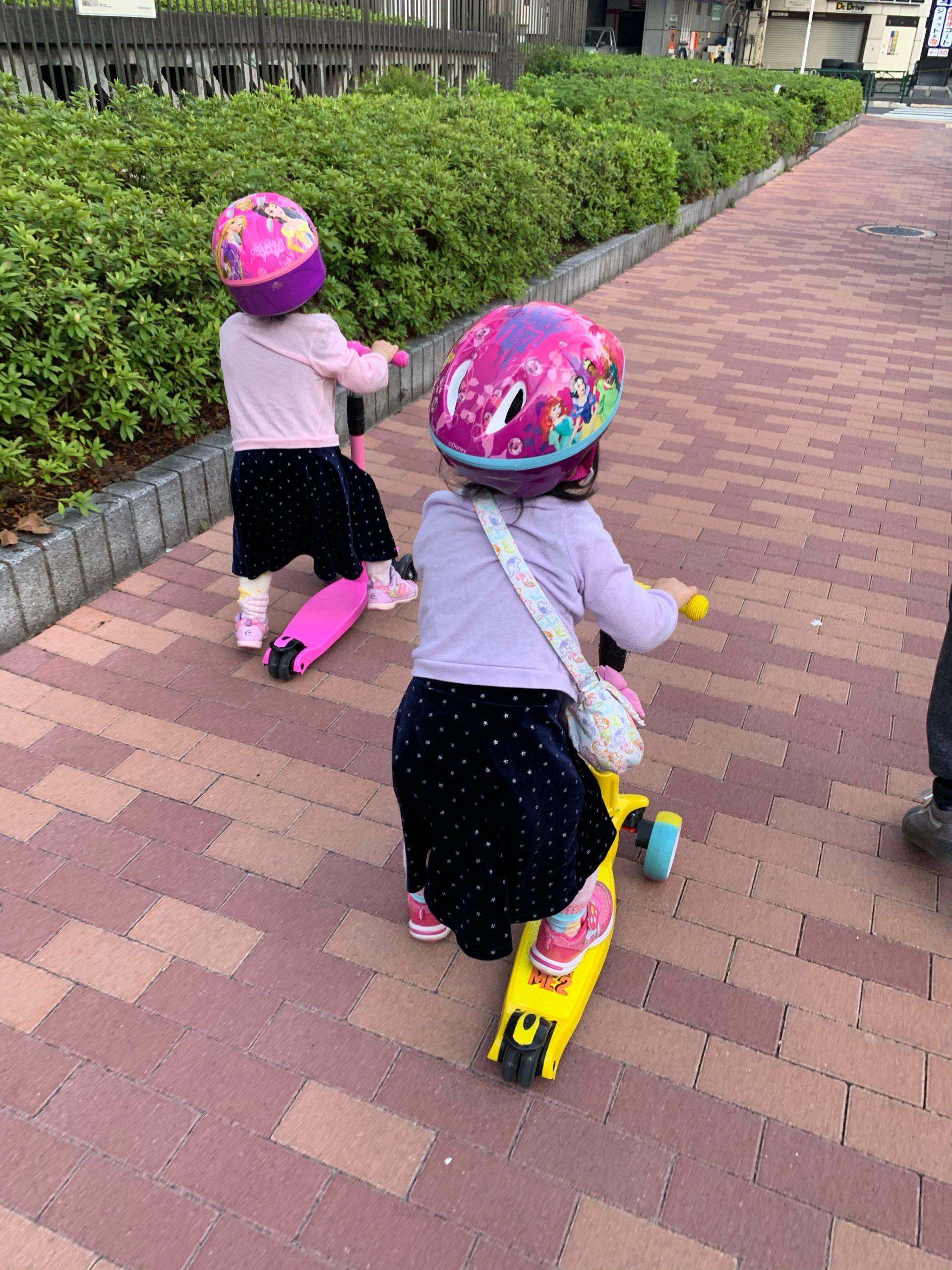 【双子4歳-運動不足解消】コロナ禍 遊具のない広い公園、広場/3密(密です)を回避して遊ぶ方法まとめ #キックボード