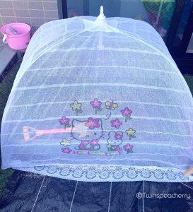 屋上砂場を乾かすのに最適なキティちゃんベビー蚊帳 - ルーフテラス(ルーフバルコニー/ベランダ)砂場グッズ
