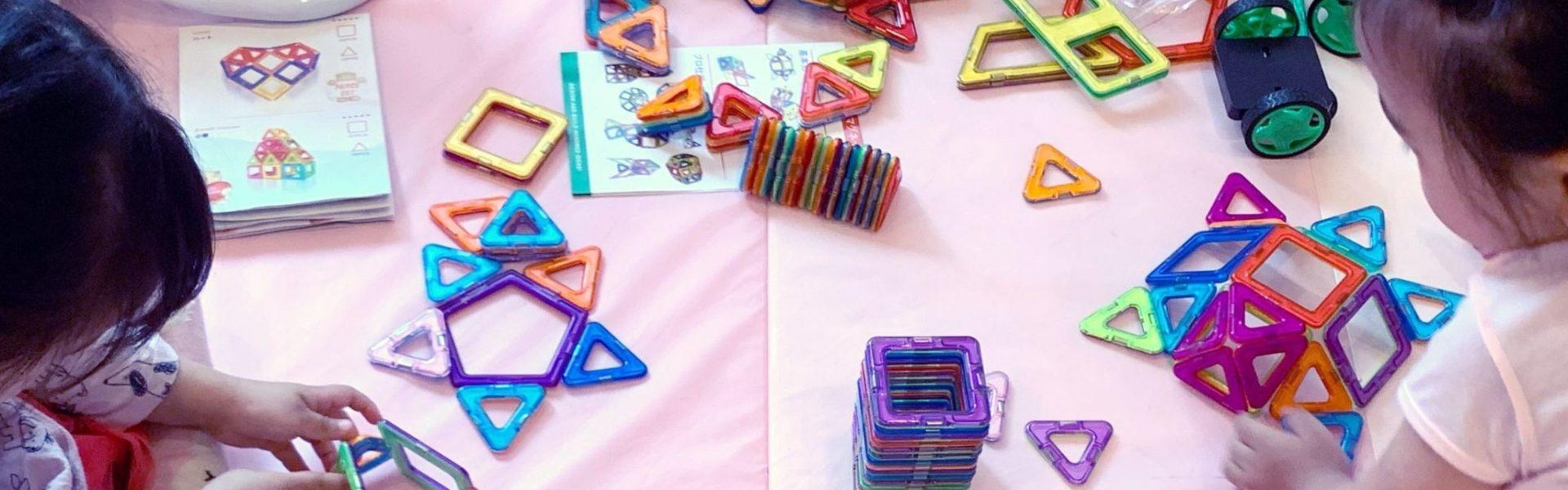 【双子4歳‐知育おもちゃ】マグネットブロック‐亀、犬、お城、車、星などいろいろ作れて図形の勉強にも!幼児向け磁石ブロック