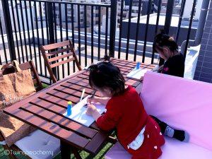 開放的なルーフテラス(ルーフバルコニー/屋上)でお絵かき!#Stayhome #お家で過ごそう #ベランダ・お庭遊び