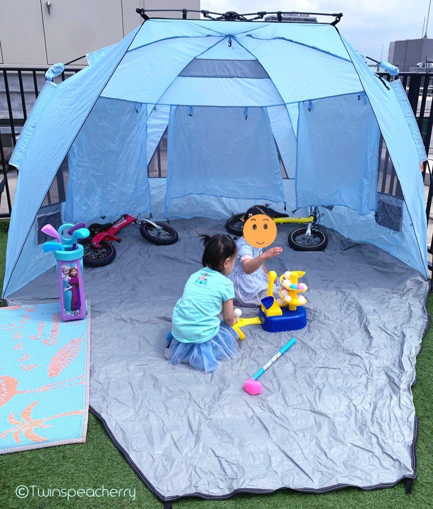 ポップアップテント! 双子4歳とルーフテラス(ルーフバルコニー/屋上)でゴルフ練習!ゴルフスイング動画もあるよ #Stayhome #お家で過ごそう