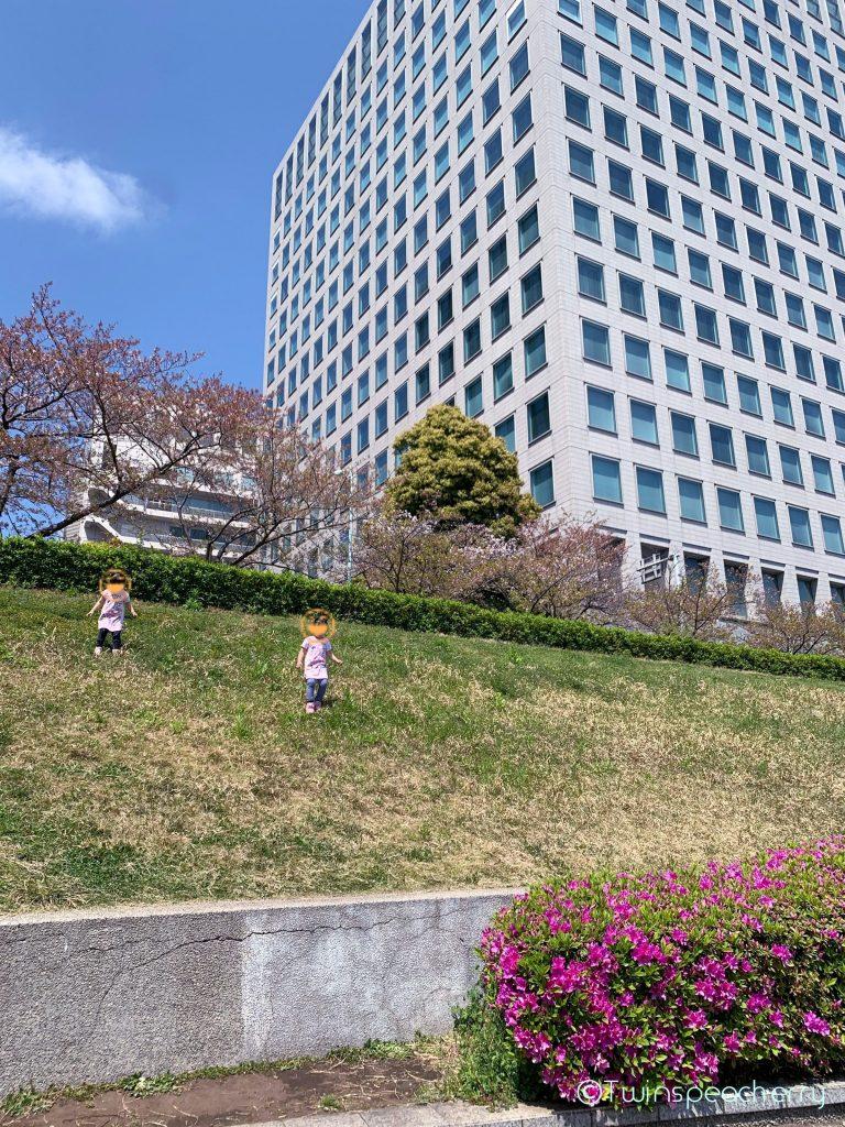 4歳双子と3密(密です)を避けての散歩-隅田川テラス 中央大橋‐永代橋間の土手
