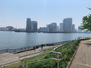 石川島公園の隅田川テラスリバーサイド
