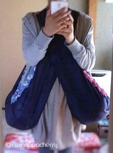 双子0歳:さっと肩掛けするだけ!簡単双子同時抱っこ方法① ゆりかごベビースリング(抱っこ紐/ベビーキャリー) 新生児~6カ月用