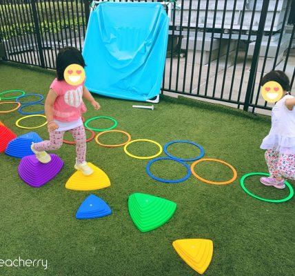 BABY tree ケンケンパ リング カラフル 38cm 20本 セット&バランスストーンで幼児の運動不足解消!ルーフバルコニー(屋上テラス)・庭遊び