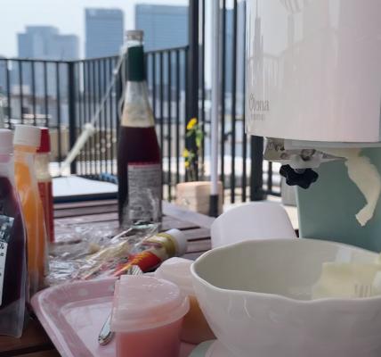 (ルーフテラス/ルーフバルコニー)屋上プールの後にかき氷パーティ! byドウシシャ 電動ふわふわ とろ雪 かき氷器